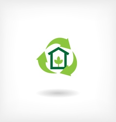 Icon eco home garbage recycling vector