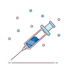Icon vaccine syringe with vaccine vector