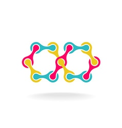 Infinity chain with segments colorful rainbow logo vector