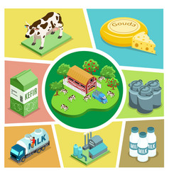 isometric farming elements composition vector image
