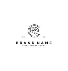 Letter c brain logo design vector