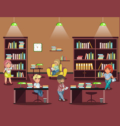 library interior with people vector image vector image