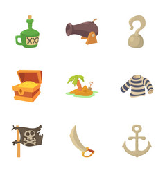 Life of a pirate icons set cartoon style vector