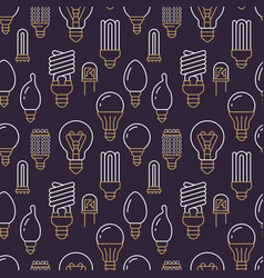 light bulbs seamless pattern with flat line icons vector image