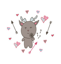 lovely hand-drawn deer the romantic vector image