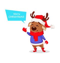 merry christmas cute deer wearing santa claus hat vector image