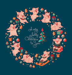 merry christmas to you cute pigs vector image