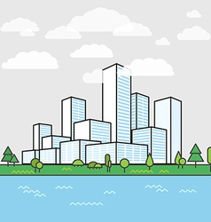 Modern city district Buildings in perspective vector image