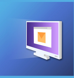 monitor screen icon in isometric style digital vector image