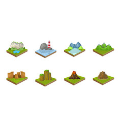 Mountains massive icons in set collection vector