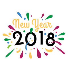 New year 2018 colorful image vector