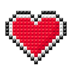 pixel heart red vector image