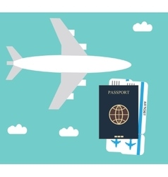 Plane passport background vector