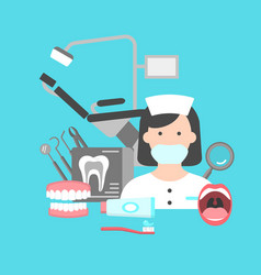 Poster with icons of dental clinic services vector