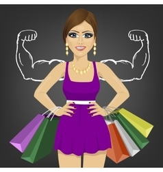 Powerful girl with shopping bags vector