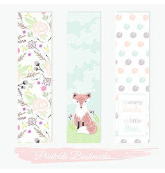 Printable bookmarks with flowers fox vector
