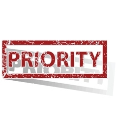 PRIORITY outlined stamp vector