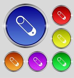 Pushpin icon sign Round symbol on bright colourful vector