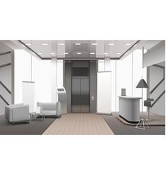 Realistic lobby interior grey color vector