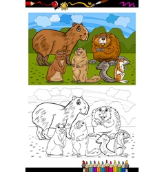 Rodents animals cartoon coloring book vector