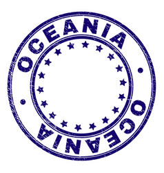 Scratched textured oceania round stamp seal vector