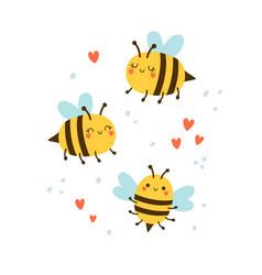 set cute bees and hearts vector image