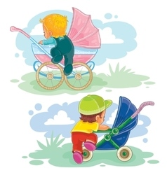 Set of little kids and baby carriage vector