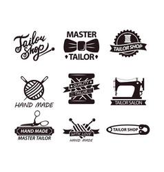 set of logos for handmade shops tailor salon vector image vector image