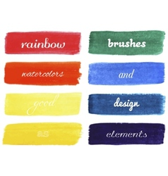 Set of rainbow colors watercolor brushes vector image