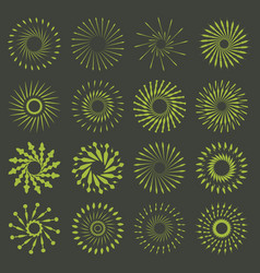 Set of retro brush sun burst shapes vintage logo vector