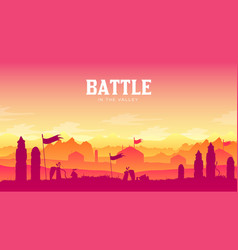 silhouette historical battlefield at sunset design vector image