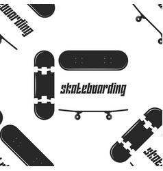 skateboard sports seamless pattern black vector image