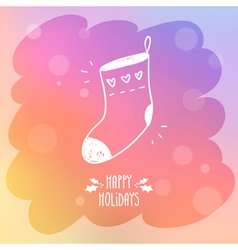 Sketchy sock for gifts on misted window glass with vector