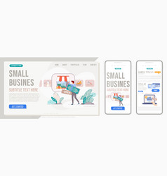 Small business website landing page template vector