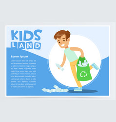 Smiling boy gathering plastic waste for recycling vector