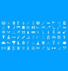 Sport equipment icon blue set vector