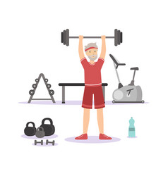 Sportive senior man exercising with barbell in the vector