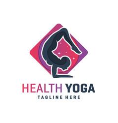 sports yoga training logo design vector image