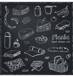 Summer picnic doodle set Various meals drinks vector