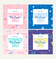 Summer sale set of website sale banner templates vector