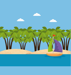 summer time scene with sailboat vector image