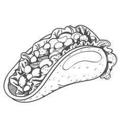 Taco logo traditional mexican cuisine coloring vector
