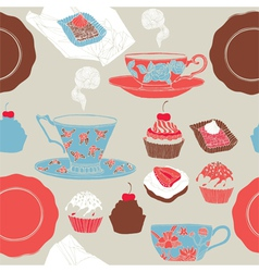 Tea and cupcakes Seamless pattern vector