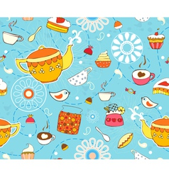 Tea cake seamless background vector