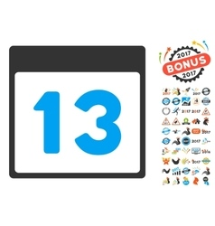Thirteenth Calendar Page Flat Icon With vector