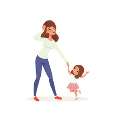 tired mother holding hand her naughty daughter vector image