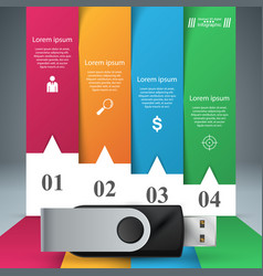 usb icon foir items paper infographic vector image