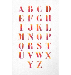 Watercolor alphabet font set vector