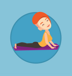 woman practicing yoga upward dog pose vector image