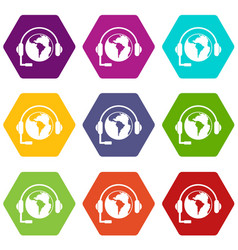 world planet and headset icon set color hexahedron vector image